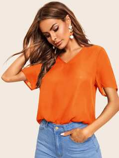 Neon Orange V-neck Solid Top