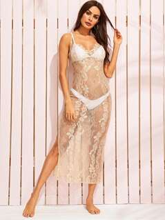 Criss-cross Back Slit Hem Lace Cover Up Without Lingerie