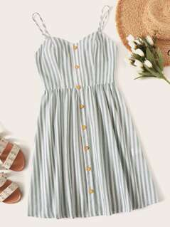 Button Front Striped Slip Dress