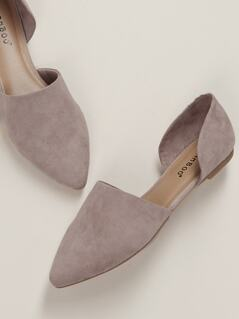 Pointed Toe Dual Cut Out Sides Slip On Flats