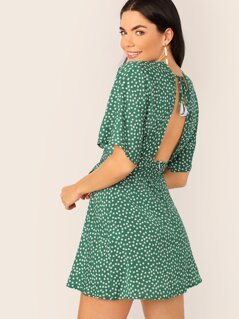 Ditsy Floral Backless Tie Front Dress