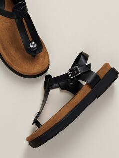 T-Strap Buckled Ankle Footbed Sandals