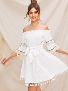 Ruffle Trim Tassel Trim Belted Bardot Dress