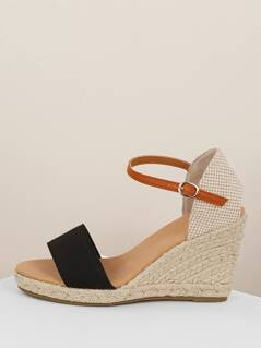 Solid Band Buckled Ankle Strap Jute Trim Wedges