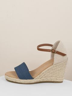 Denim Band Buckled Ankle Jute Wedge Sandals