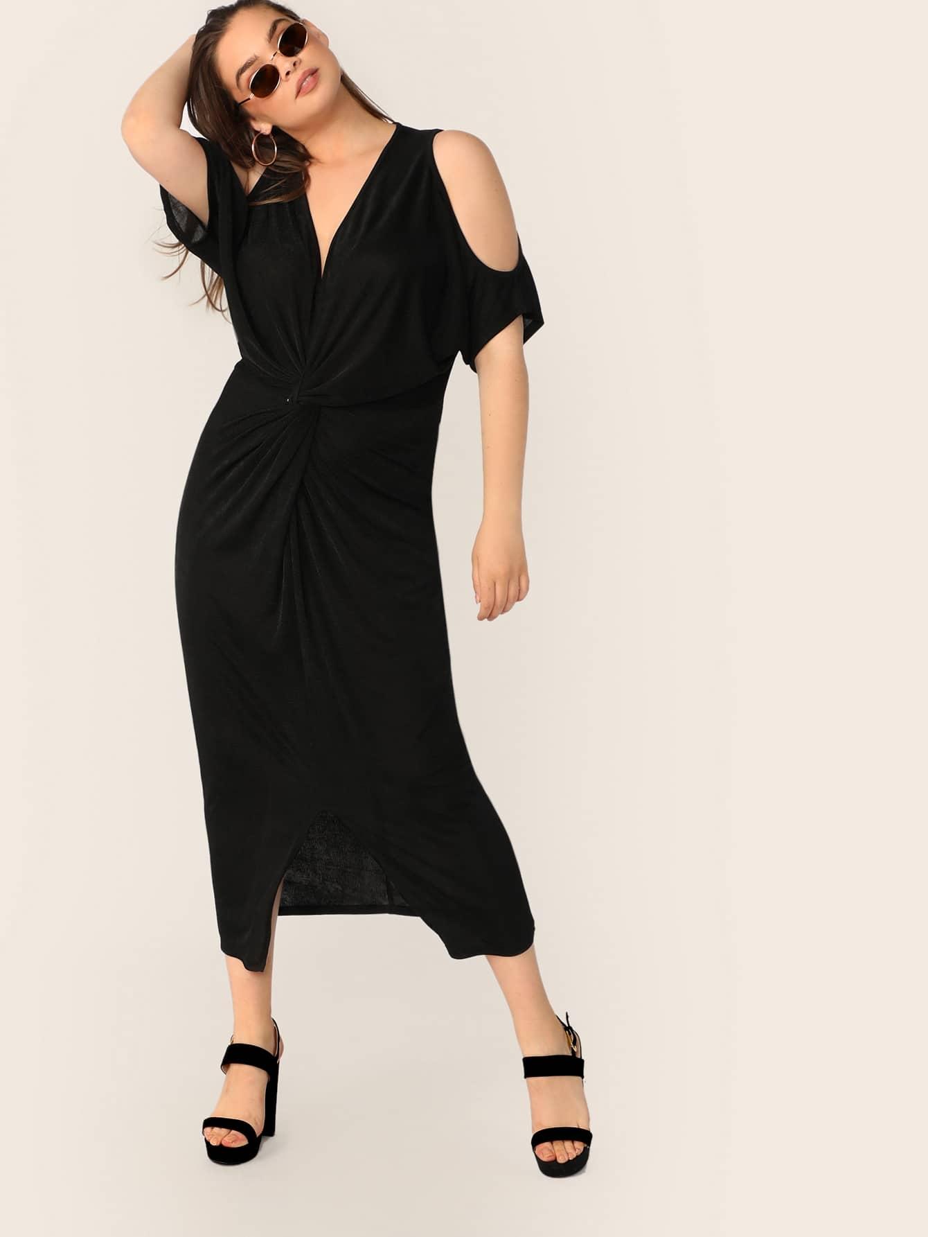 Фото - Платье с открытым плечом и витой размера плюс от SheIn цвет чёрные