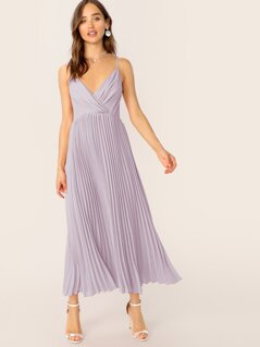 Wrap Front Pleated Cami Dress