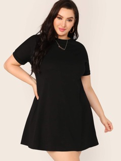 Plus Short Sleeve Swing Dress