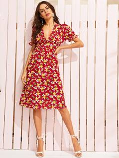 Deep V Neck Ditsy Floral Print Dress