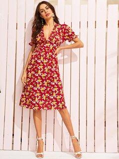 Deep V Neck Ditsy Floral Print Dress