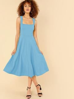 Zipper Side Square Neck Sleeveless Flare Dress