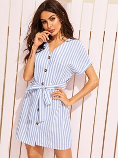 Button Front Striped Belted Tea Dress
