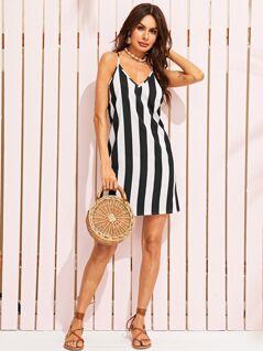 Two Tone Striped Racerback Cami Dress