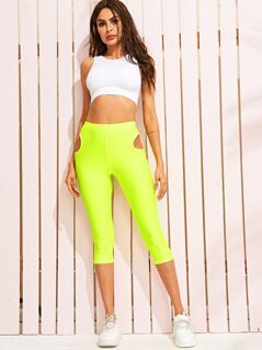 Neon Lime Cut-out Detail Leggings