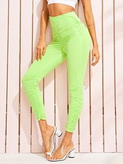 Neon Lime High Waist Ruched Trim Leggings