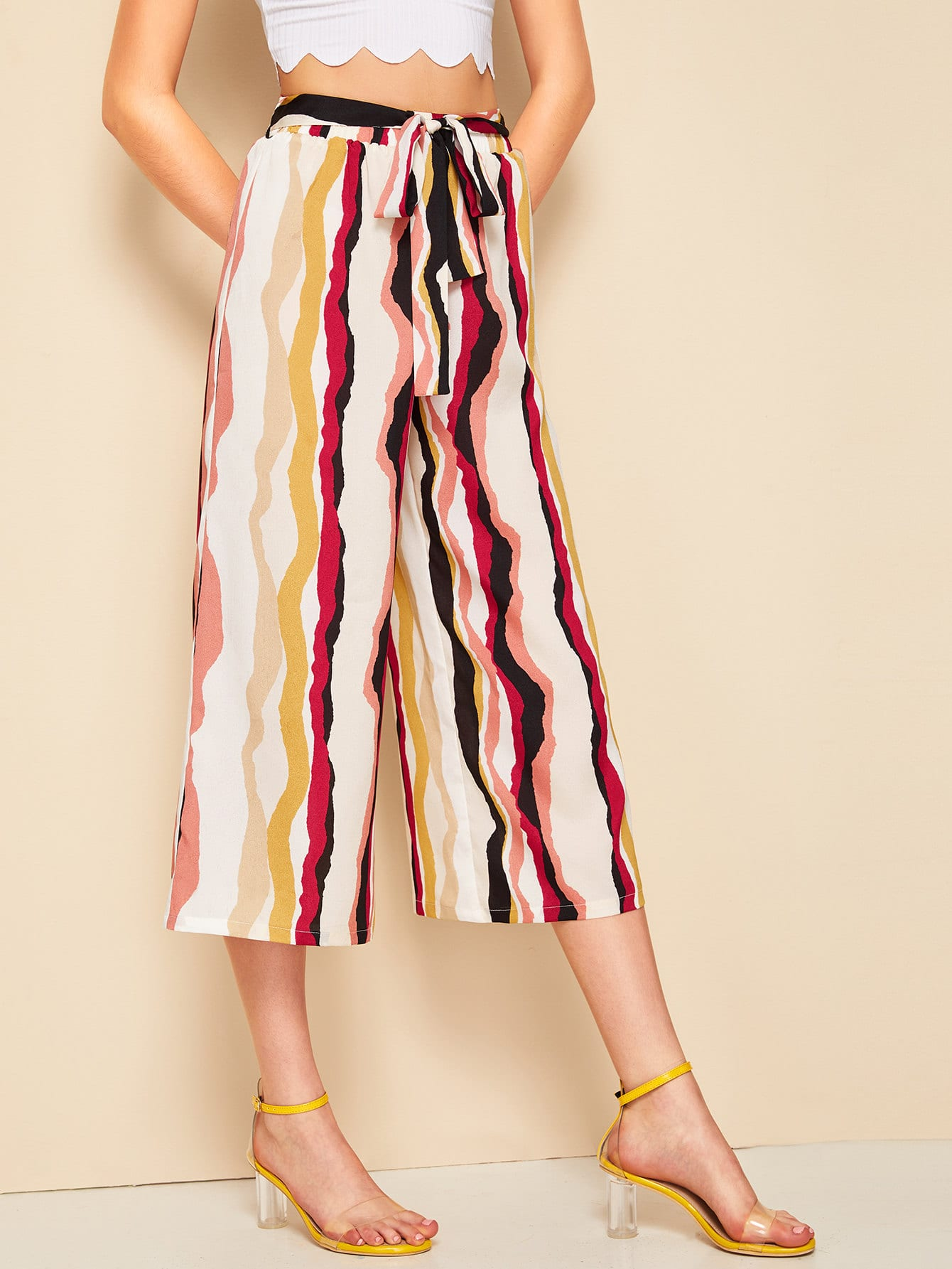 Colorful Striped Belted Capris Palazzo Pants