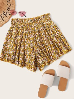 Ditsy Floral Print Pleated Wide Leg Shorts