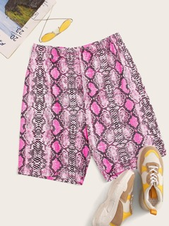 Plus Snakeskin Print Cycling Shorts