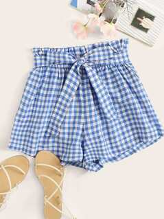 Belted Paperbag Waist Gingham Shorts