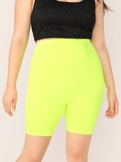 Plus Neon Lime Cycling Shorts