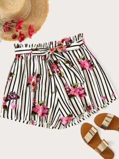 Plus Paperbag Waist Floral and Striped Shorts