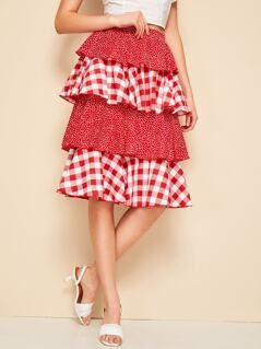 Layered Ruffle Polka Dot & Gingham Skirt