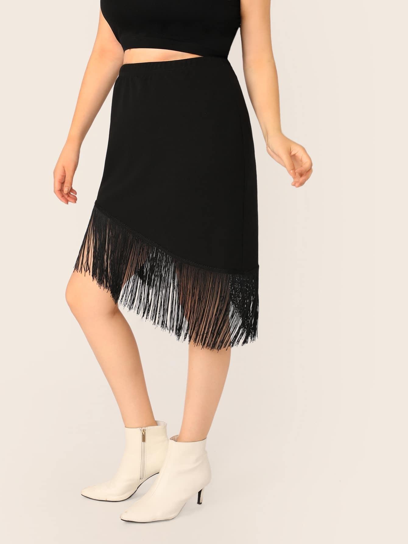Фото - Асимметричная юбка размера плюс с бахромой от SheIn цвет чёрные