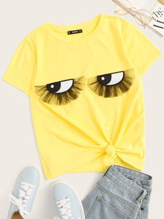 Neon Yellow Mesh Detail Embroidered Applique Tee