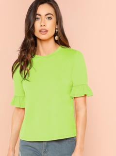 Neon Lime Ruffle Cuff Top