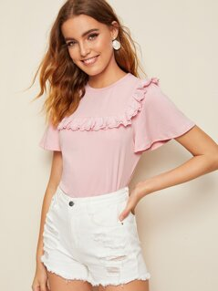 Layered Eyelet Embroidered Ruffle Solid Tee