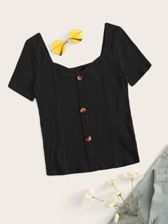 Sweetheart Neck Button Rib-knit Tee