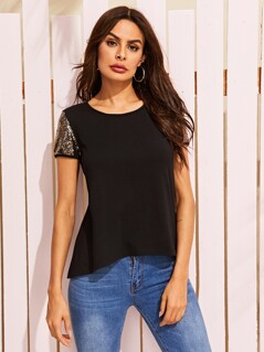Sequin Sleeve Curved Hem Top