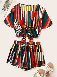 Colorful Striped Knotted Front Top & Shorts Set
