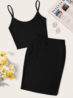 Solid Cami Top & Bodycon Skirt Set