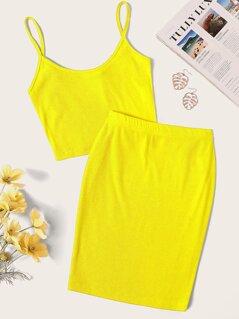 Neon Yellow Rib-knit Crop Cami Top & Skirt Set