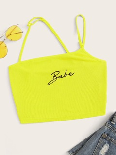 Neon Yellow Letter Print Rib-knit Cami Top