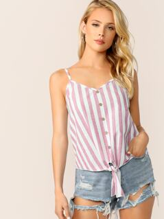Buttoned Knot Front Striped Cami Top
