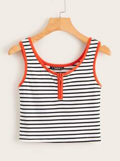 Zipper Fly Striped Rib-knit Ringer Tank Top