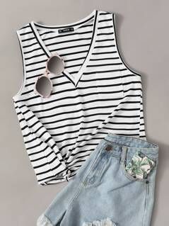 V Neck Striped Tank Top