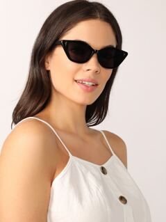 Reflective Lens Acrylic Cat Eye Sunglasses