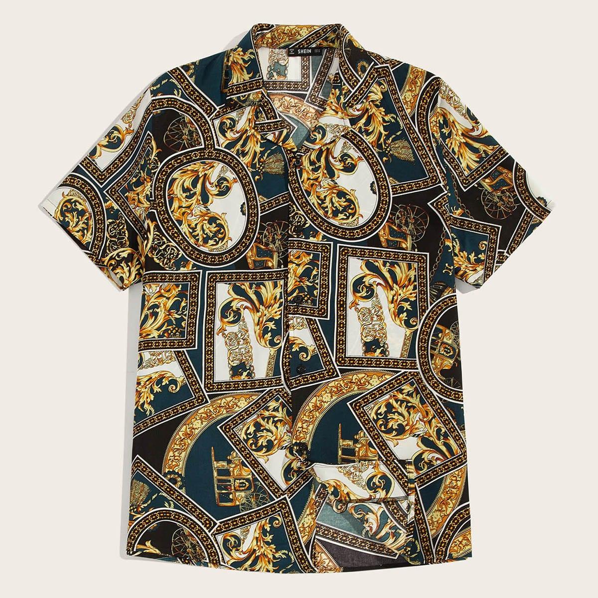 Veel kleurig Casual Sjaal Print Overhemden voor heren Voorpand met Knoopjes