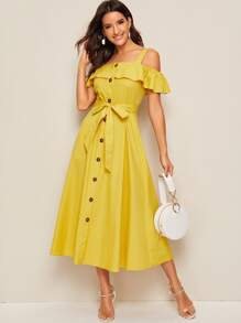 Flounce Cold Shoulder Belted Button Through Dress