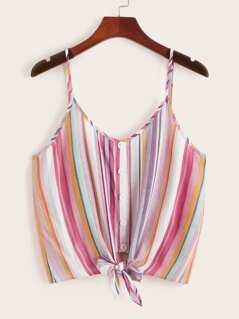 Button & Knot Front Colorful Striped Cami Top