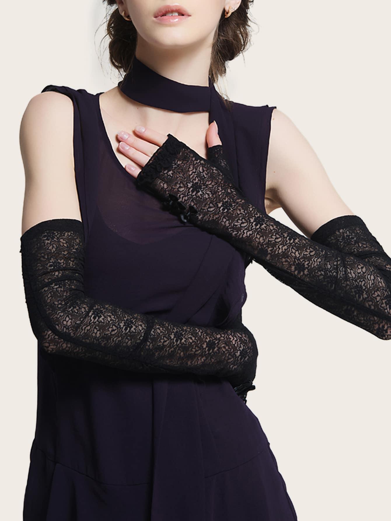 Длинные кружевные перчатки от SheIn