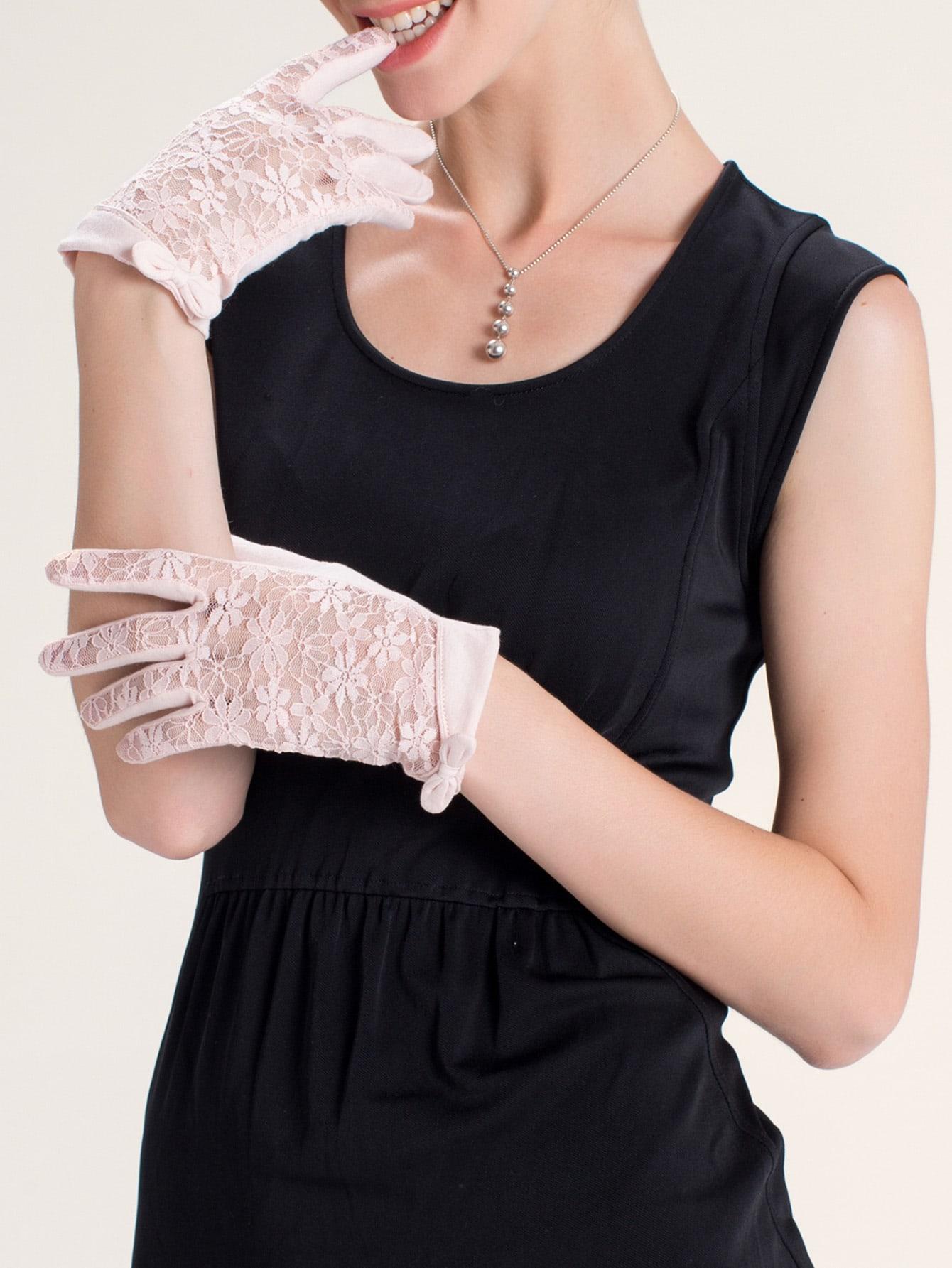 Короткие кружевные перчатки с бантом от SheIn