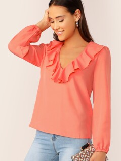 Neon Orange Ruffle V-neck Elastic Cuff Top
