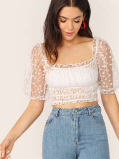 Puff Sleeve Shirred Flocked Mesh Top Without Bandeau