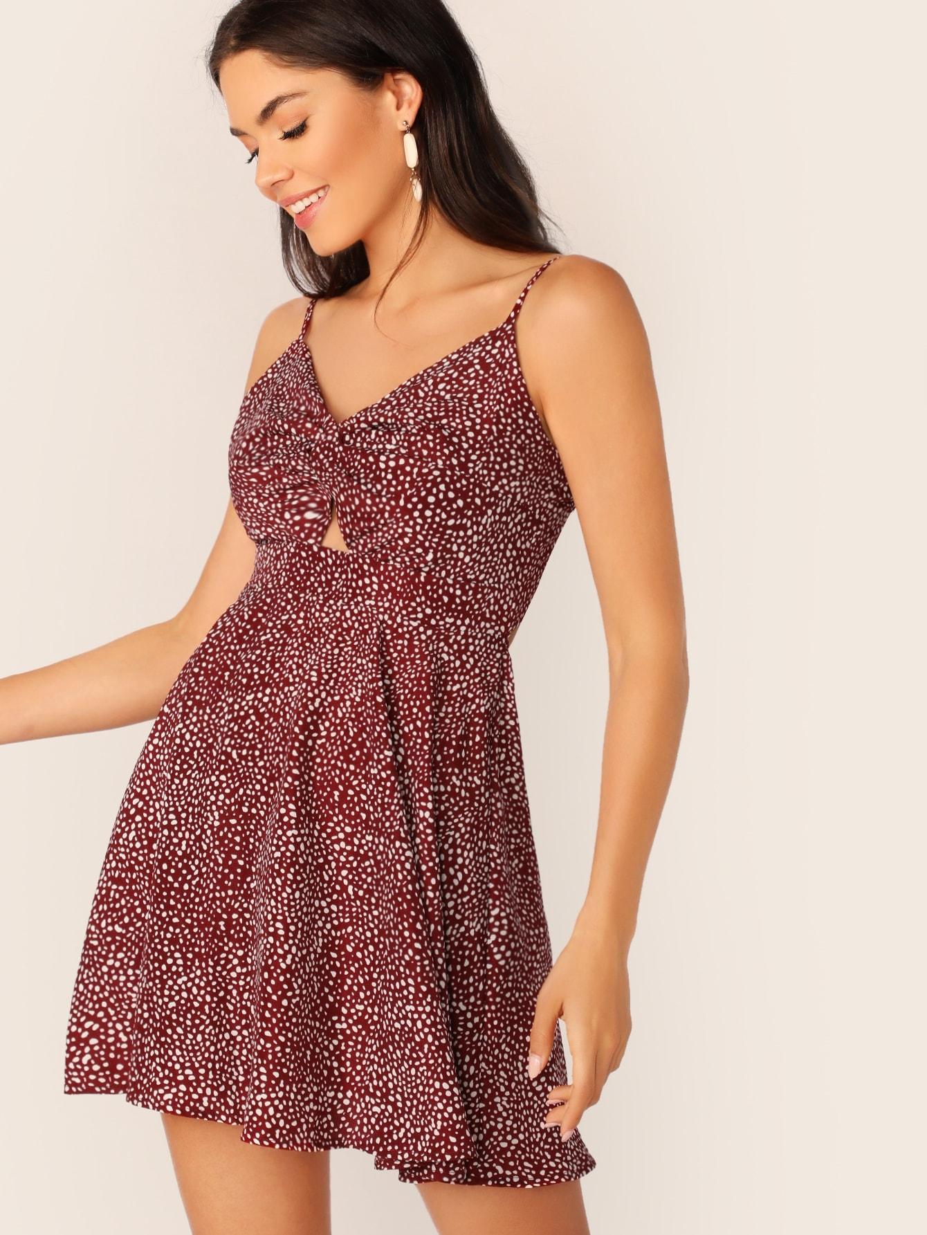 Фото - Платье на бретелях с узлом и витой от SheIn цвет бургундия