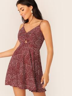 Twist Front Knot Back Peekaboo Cami Dress
