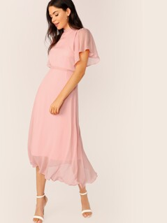Flutter Sleeve Frill Trim Tie Back Solid Dress